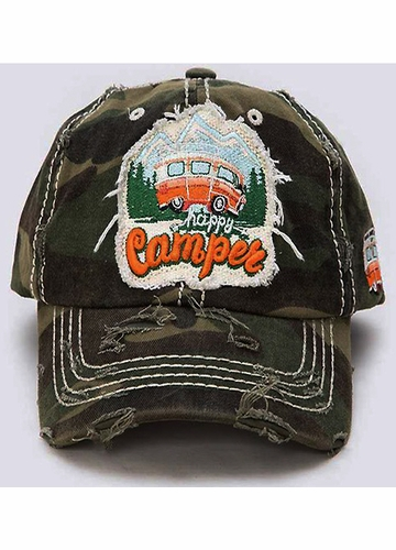 Happy Camper Vintage Patch Baseball Hat