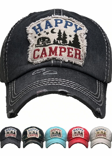 Happy Camper Washed Vintage Baseball Cap