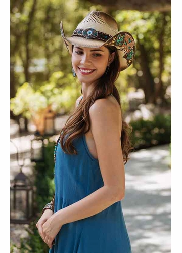 Header Cowgirl Hat with Turquoise Accents by Stampede