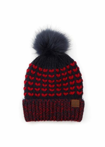 Heart Knit CC Beanie Hat with Pom