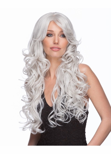 Heat Safe Long Glamour Curl Wig Boston in Snow White