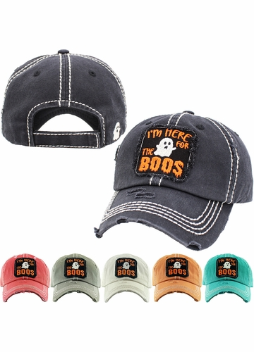 HERE FOR THE BOOS Washed Vintage Ballcap