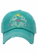 High Tides and Good Vibes Washed Vintage Baseball Cap inset 1