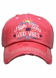 High Tides and Good Vibes Washed Vintage Baseball Cap inset 3