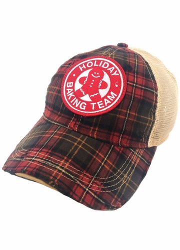 Holiday Baking Team Baseball Hat in Red Plaid