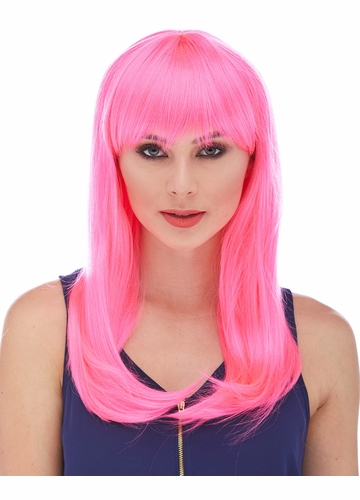 Hot Pink Long Straight Wig with Bangs Classy