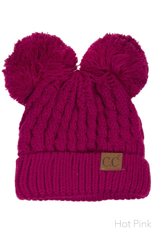 7c9ba16b Hot Pink Thick Knit CC Beanie Hat with Double Pom