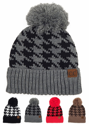 Houndstooth Pattern CC Hat with Pom