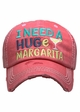 I Need a Huge Margarita Washed Vintage Baseball Cap inset 1