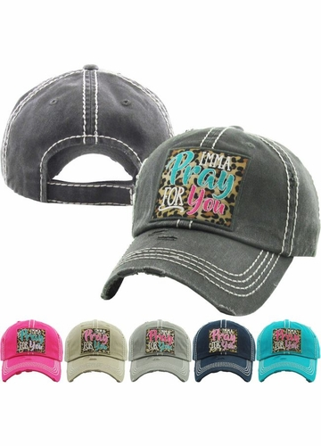 IMMA PRAY FOR YOU Washed Vintage Ballcap