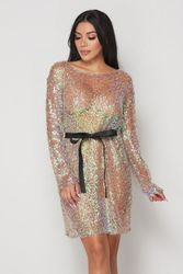 Irridescent Sequin Mesh Cover-Up Dress