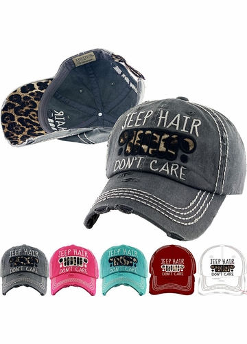 Jeep Hair Don't Care Leopard Baseball Hat