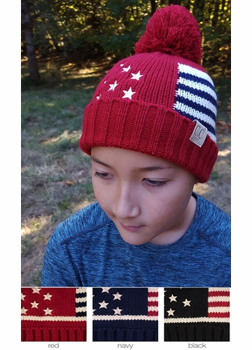 KIDS American Flag Patriotic Knit CC Beanie Hat