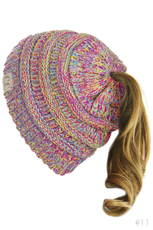 85fcca1a405 Kids BeanieTails Multi Color Hat with Open Ponytail