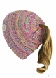 KIDS BeanieTails Multi Color Hat with Open Ponytail inset 2