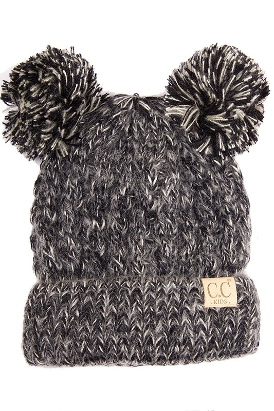 KIDS Black Knit Two Tone CC Beanie Hat with Two Pom Poms 8ac26157ea7