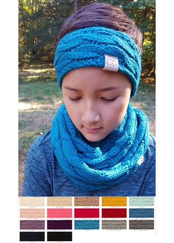 KIDS Cable Knit CC Headband with Plush Lining
