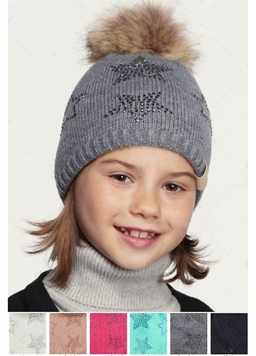 KIDS CC Beanie Hat with Stars and Pom