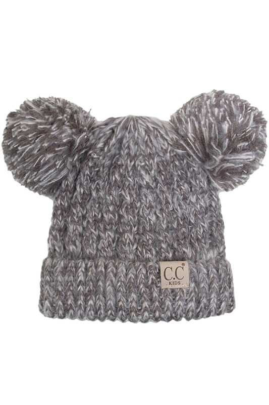KIDS Dark Grey Knit Two Tone CC Beanie Hat with Two Pom Poms 6885b37a7fb