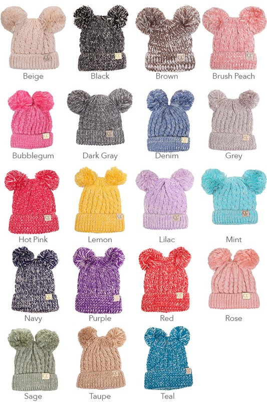 2c1290033b12bc KIDS Knit Two Tone CC Beanie Hat with Two Pom Poms inset 1 ...