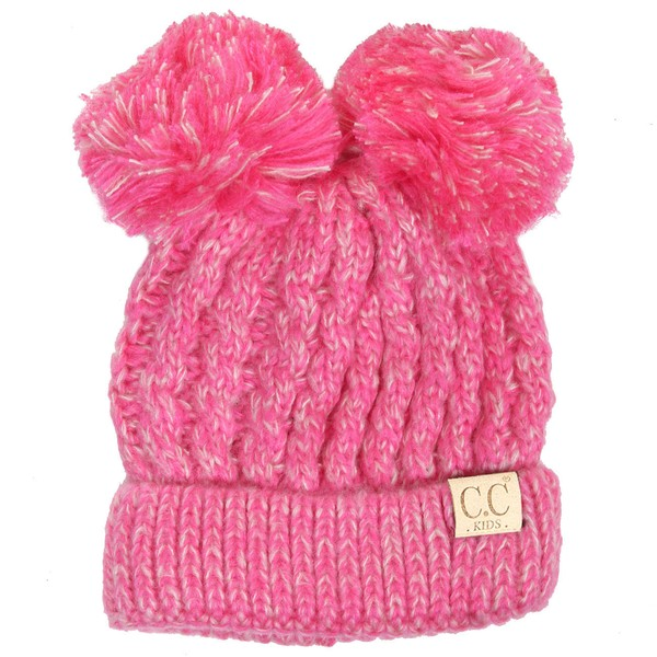 5423daa1fe407c ... 2 KIDS Knit Two Tone CC Beanie Hat with Two Pom Poms inset 3 ...
