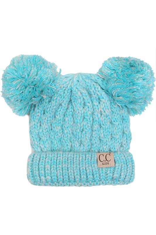51176a240e09e1 ... KIDS Knit Two Tone CC Beanie Hat with Two Pom Poms inset 4