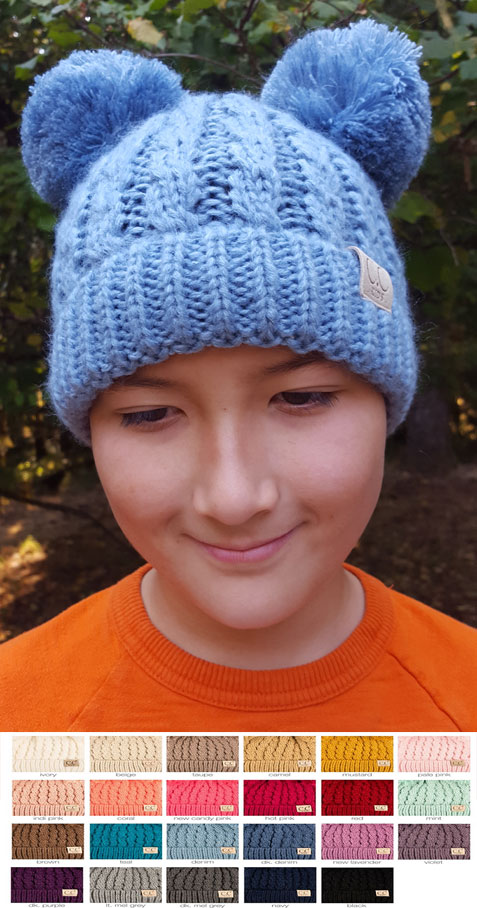 KIDS Knit Solid Color CC Beanie Hat with Two Pom Poms 7e95a4e835c