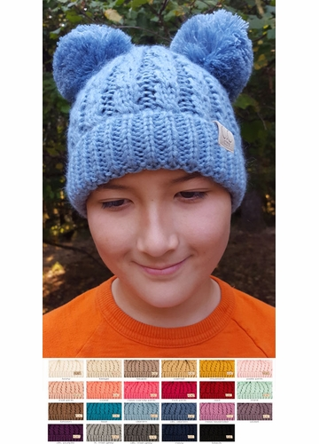 KIDS Knit Solid Color CC Beanie Hat with Two Pom Poms