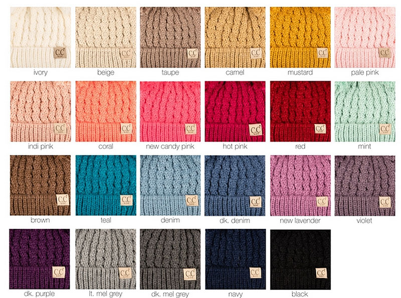 f7ab327e612d8d ... KIDS Knit Solid Color CC Beanie Hat with Two Pom Poms inset 2 ...