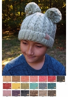 KIDS Knit Two Tone CC Beanie Hat with Two Pom Poms