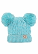 KIDS Knit Two Tone CC Beanie Hat with Two Pom Poms inset 4