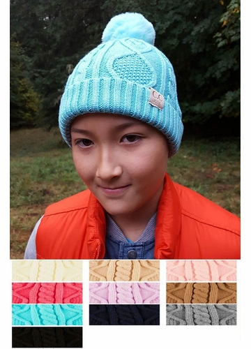Kids Lined Cable Knit CC Beanie with Pom