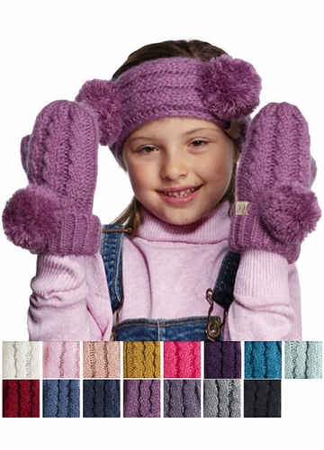 KIDS Pom Pom Mitten Gloves with Lining