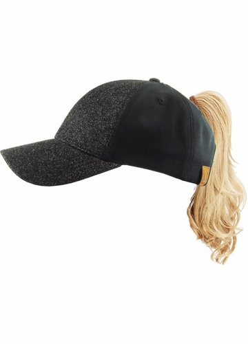 KIDS Ponytail Baseball Hat in Glitter and Cotton