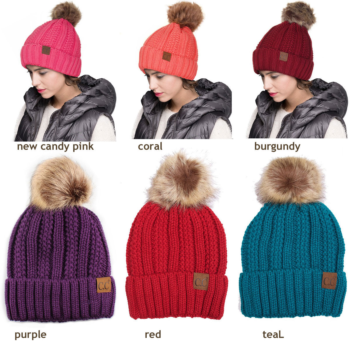 f71d18695d590 ... CC Beanie Hat with Warm Lining and Fur Pom Pom inset 4