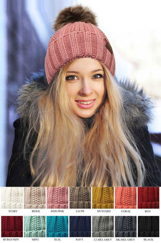 ebbc644922427 CC Beanie Hat with Warm Lining and Fur Pom Pom