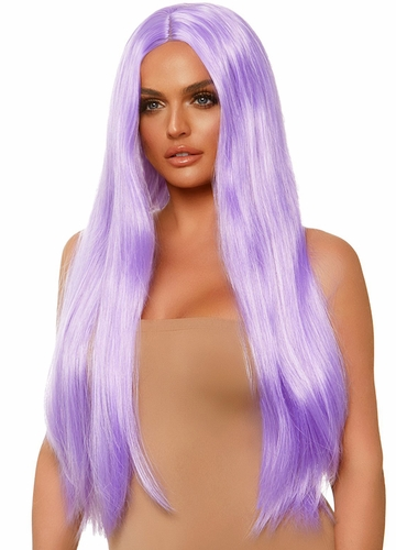 Lavender Long Straight Wig with a Center Parted