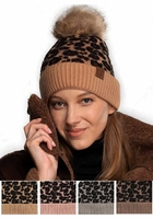Leopard CC Beanie Hat with Pom Pom