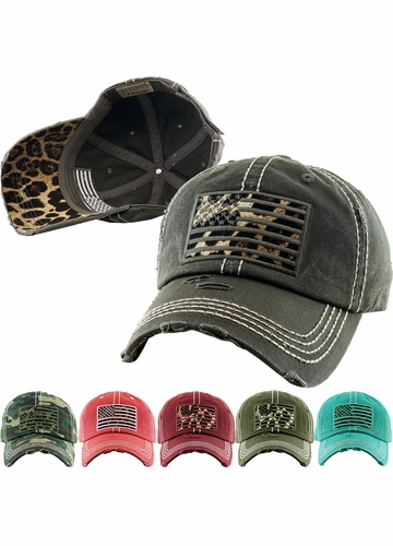 LEOPARD FLAG Washed Vintage Ballcap