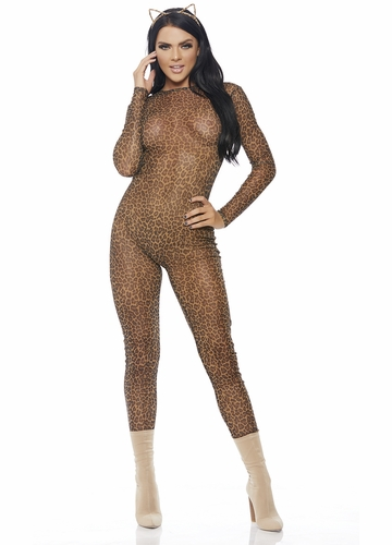 Leopard Mesh Catsuit with Long Sleeves
