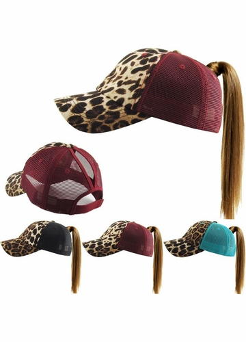 Leopard Trucker Pony Hat with Mesh Back