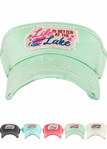 Life is Better At The Lake Washed Vintage Sun Visor