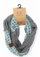 Light Grey Mint CC Knit Scarf with HoundsTooth design