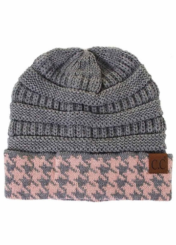 Light Grey Pink CC Knit Beanie with Hound-Tooth Cuff
