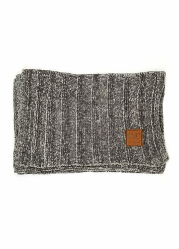 Light Grey Ribbed Knit Chenille CC Scarf