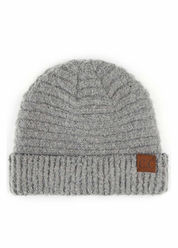 Light Grey Solid Color Boucle Yarn CC Beanie Hat
