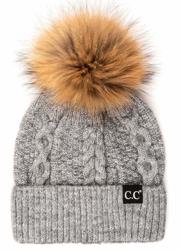 Light Melange Grey CC Exclusives Double Cable Beanie Hat with Fur Pom