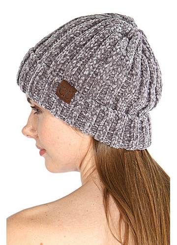 Light Melange Grey Chenille Wide Ribbed Knit CC Beanie Hat