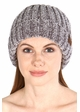 Light Melange Grey Chenille Wide Ribbed Knit CC Beanie Hat inset 1