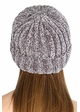 Light Melange Grey Chenille Wide Ribbed Knit CC Beanie Hat inset 2